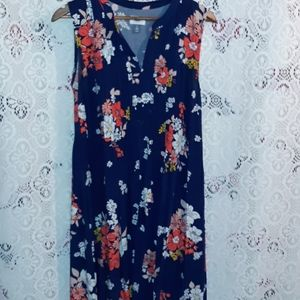 NAVY AND ORANGE FLORAL PRINT DRESS